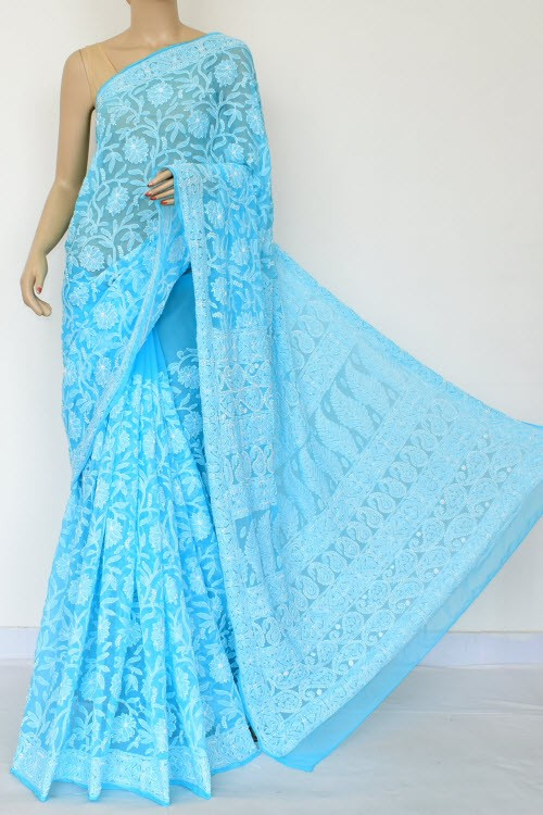 Pherozi Blue Allover Hand Embroidered Lucknowi Chikankari Saree (With Blouse - Georgette) 14874