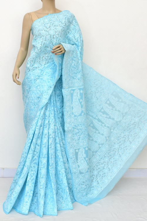 Sky Blue Allover Hand Embroidered Lucknowi Chikankari Saree (With Blouse - Cotton) Full Jaal 14888