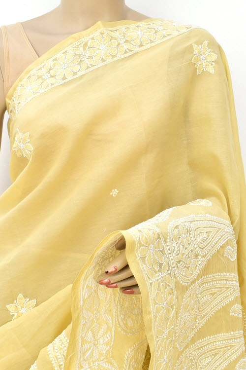 Fawn Hand Embroidered Lucknowi Chikankari Saree (With Blouse - Cotton) Rich Border and Pallu 14893