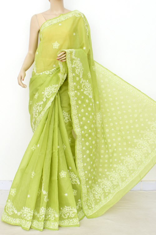 Menhdi Green Hand Embroidered Lucknowi Chikankari Saree (With Blouse - Cotton) 14896
