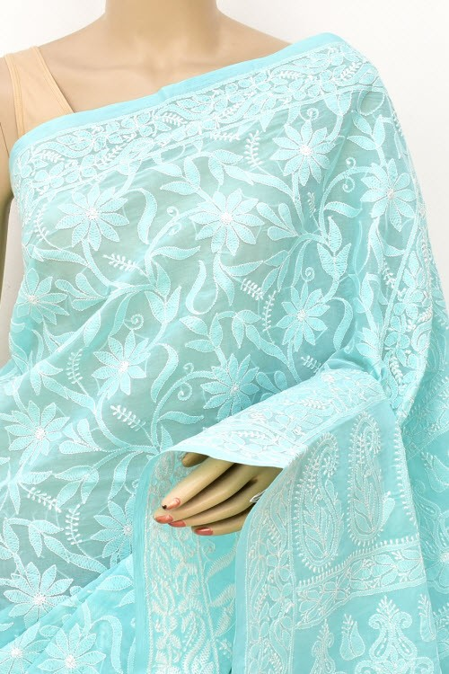 Light Blue Allover Hand Embroidered Lucknowi Chikankari Saree (With Blouse - Cotton) 14901