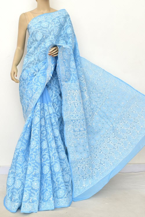 Sky Blue Allover Hand Embroidered Lucknowi Chikankari Saree (With Blouse - Cotton) 14902