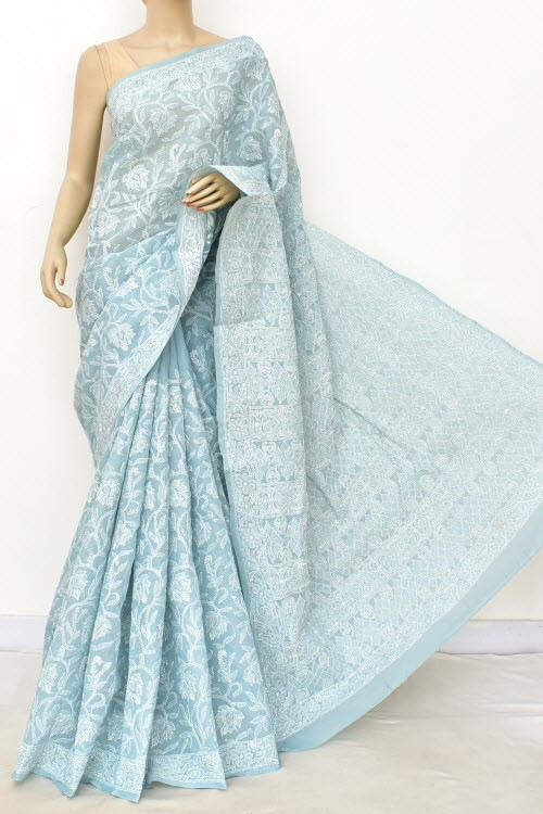 Grayish Blue Allover Hand Embroidered Lucknowi Chikankari Saree (With Blouse - Cotton) 14904