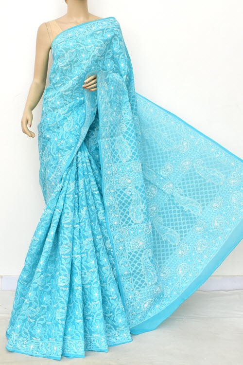 Pherozi Blue Allover Hand Embroidered Lucknowi Chikankari Saree (With Blouse - Cotton) 14905