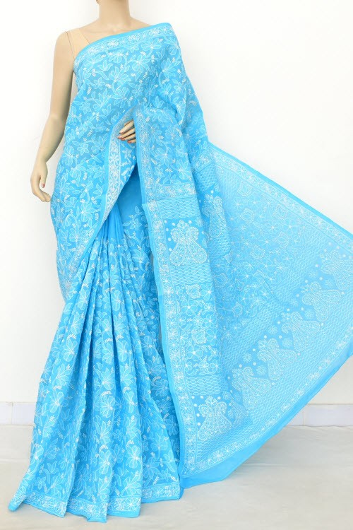 Pherozi Blue Allover Hand Embroidered Lucknowi Chikankari Saree (With Blouse - Cotton) 14910