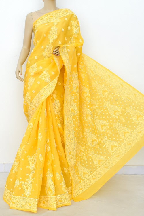 Turmeric Yellow Designer Hand Embroidered Lucknowi Chikankari Saree (With Blouse - Cotton) Rich Border and Pallu 14914