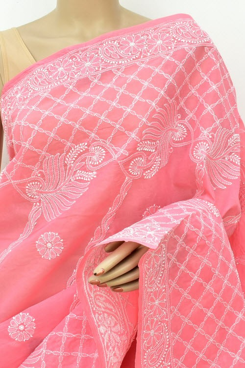 Peach Designer Hand Embroidered Lucknowi Chikankari Saree (With Blouse - Cotton) Rich Border and Pallu 14916