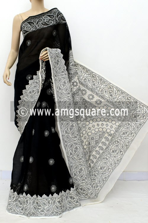 Black White Designer Hand Embroidered Lucknowi Chikankari Saree (Without Blouse - Cotton) Daraj Work Border & Pallu 14918