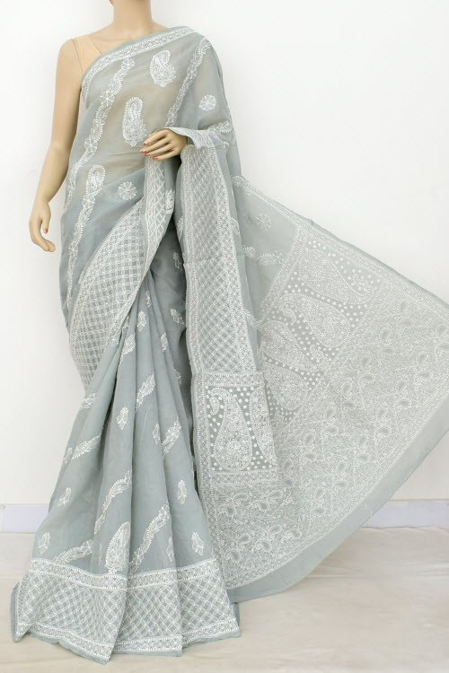 Grey Designer Hand Embroidered Lucknowi Chikankari Saree (With Blouse - Cotton) Rich Border and Pallu 14926