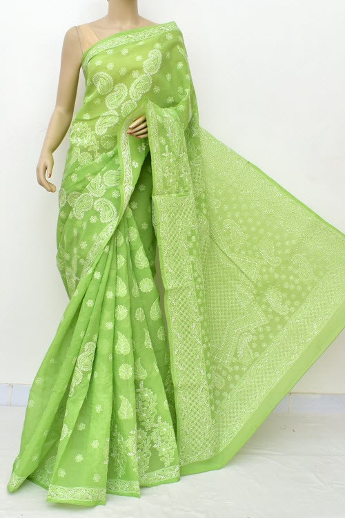 Menhdi Green Designer Hand Embroidered Lucknowi Chikankari Saree (With Blouse - Cotton) Rich Border and Pallu 14928