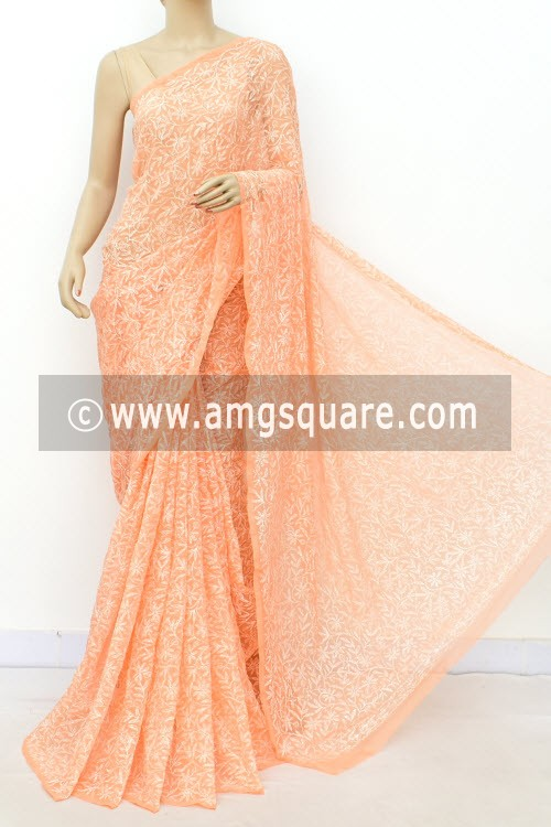Light Orange Hand Embroidered Allover Tepchi Work Lucknowi Chikankari Saree (With Blouse - Faux Georgette) 14936