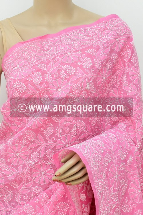 Onion Allover Hand Embroidered Lucknowi Chikankari Saree (With Blouse - Cotton) 14946