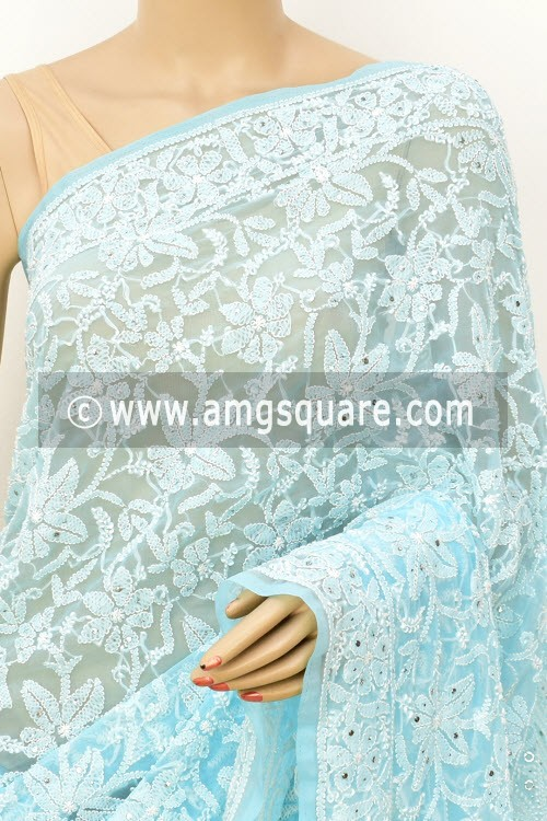 Sky Blue Allover Hand Embroidered with Fine Mukaish Work Lucknowi Chikankari Saree (With Blouse - Faux Georgette) 14949 (A Bridal Collection)