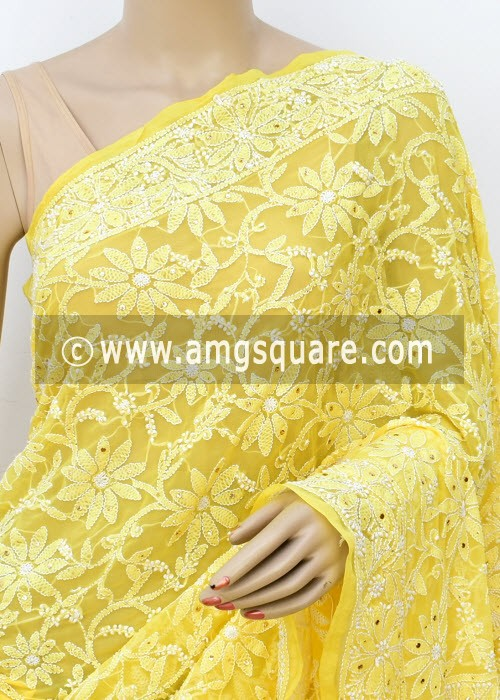 Yellow Allover Hand Embroidered with Fine Mukaish Work Lucknowi Chikankari Saree (With Blouse - Faux Georgette) 14952