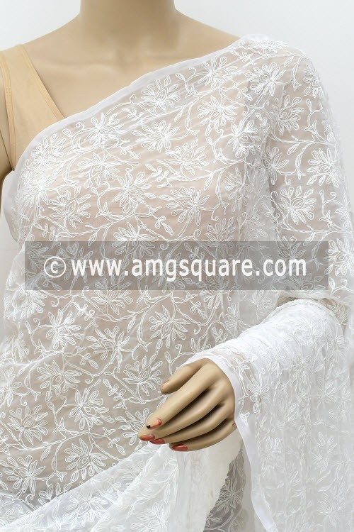 White Hand Embroidered Allover Tepchi Work Lucknowi Chikankari Saree (With Blouse - Faux Georgette) 14956