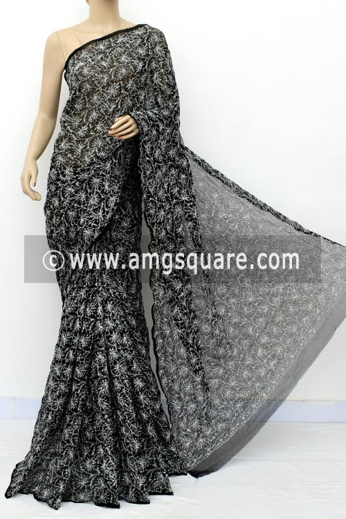 Black Hand Embroidered Allover Tepchi Work Lucknowi Chikankari Saree (With Blouse - Faux Georgette) 14957