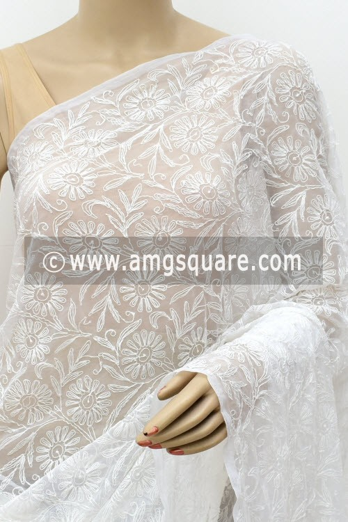 White Hand Embroidered Allover Tepchi Work Lucknowi Chikankari Saree (With Blouse - Faux Georgette) 14958