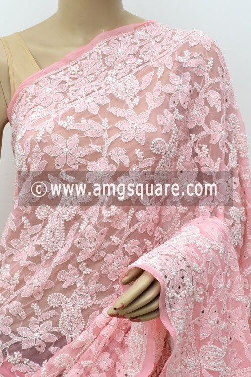 Light Peach Allover Hand Embroidered with Fine Mukaish Work Lucknowi Chikankari Saree (With Blouse - Faux Georgette) 14959 (A Bridal Collection)