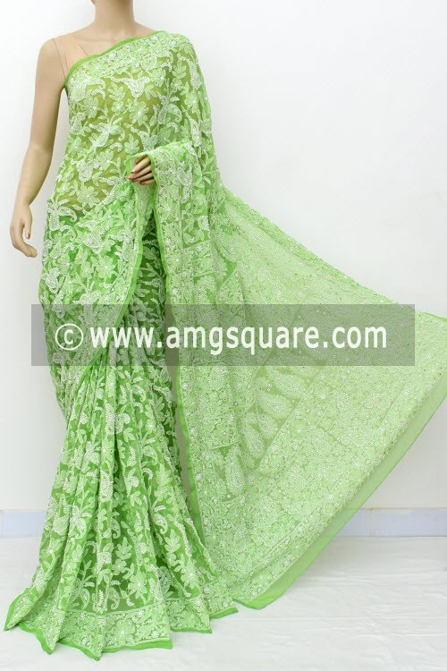 Menhdi Green Allover Hand Embroidered with Fine Mukaish Work Lucknowi Chikankari Saree (With Blouse - Faux Georgette) 14960 (A Bridal Collection)