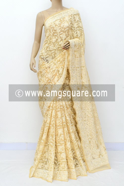 Beige Allover Hand Embroidered with Fine Mukaish Work Lucknowi Chikankari Saree (With Blouse - Faux Georgette) 14961 (A Bridal Collection)