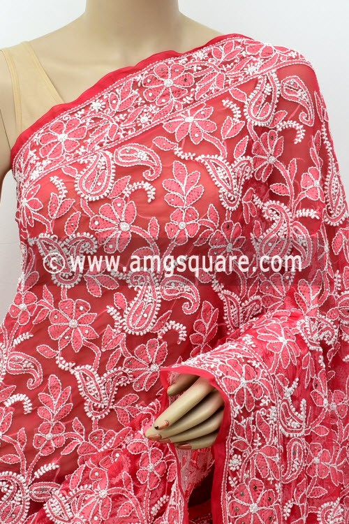 Red Allover Hand Embroidered with Fine Mukaish Work Lucknowi Chikankari Saree (With Blouse - Faux Georgette) 14962 (A Bridal Collection)