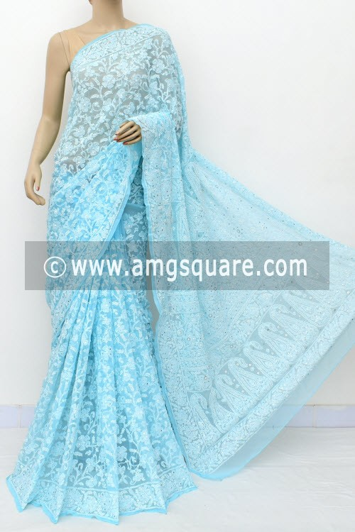 Sky Blue Allover Hand Embroidered with Fine Mukaish Work Lucknowi Chikankari Saree (With Blouse - Faux Georgette) 14964 (A Bridal Collection)