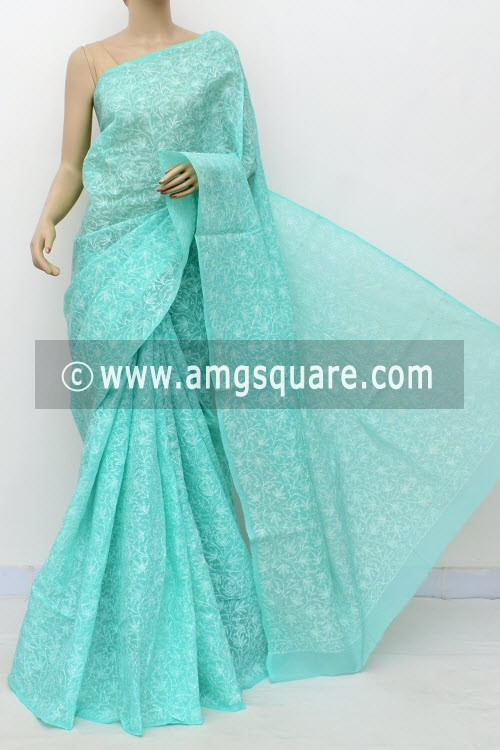 Sea Green Allover Hand Embroidered Tepchi Work Lucknowi Chikankari Saree (With Blouse - Cotton) 14970