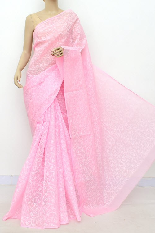 Pink Allover Hand Embroidered Tepchi Work Lucknowi Chikankari Saree (With Blouse - Cotton) 14972