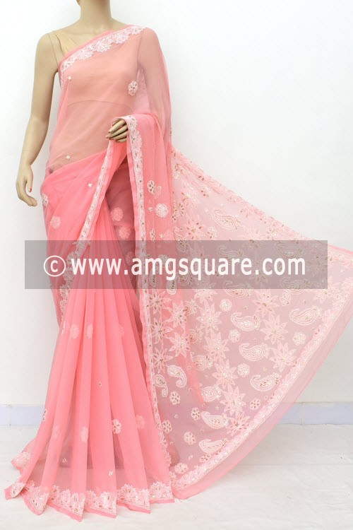 Peach Hand Embroidered Lucknowi Chikankari Saree (With Blouse - Georgette) Embellished with Gota-Patti 14974