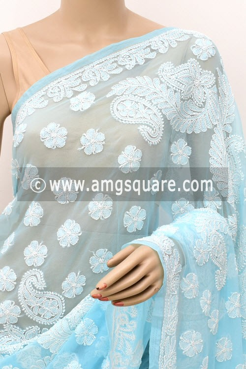 Sky Blue Hand Embroidered Lucknowi Chikankari Saree (With Blouse - Georgette) Half Jaal 14977