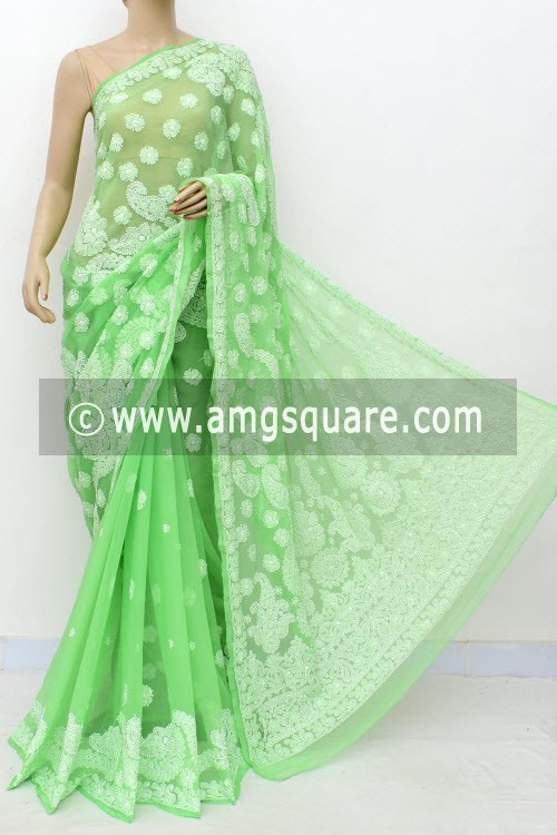 Pista Green Hand Embroidered Lucknowi Chikankari Saree (With Blouse - Georgette) Half Jaal 14979