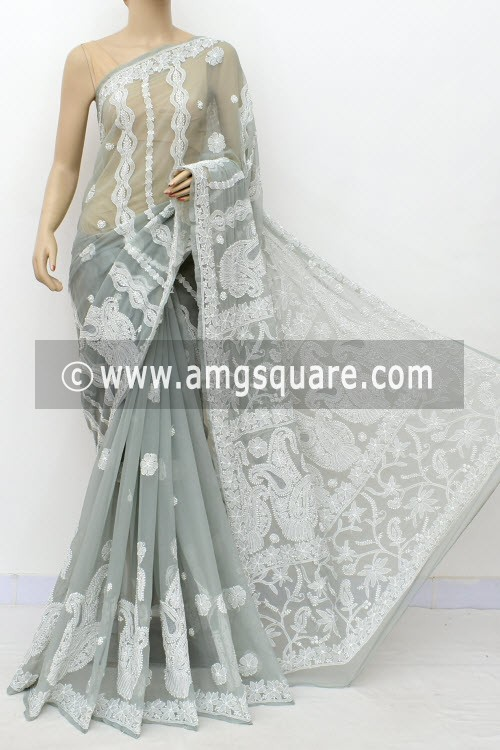 Grey Hand Embroidered Lucknowi Chikankari Saree (With Blouse - Georgette) Rich Pallu 14983