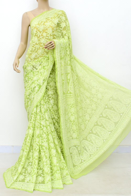 Light Pista Green Allover Hand Embroidered Lucknowi Chikankari Saree (With Blouse - Georgette) 14984