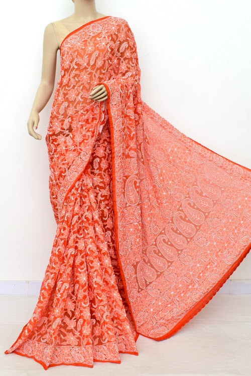 Orange Allover Hand Embroidered Lucknowi Chikankari Saree (With Blouse - Georgette) 14985