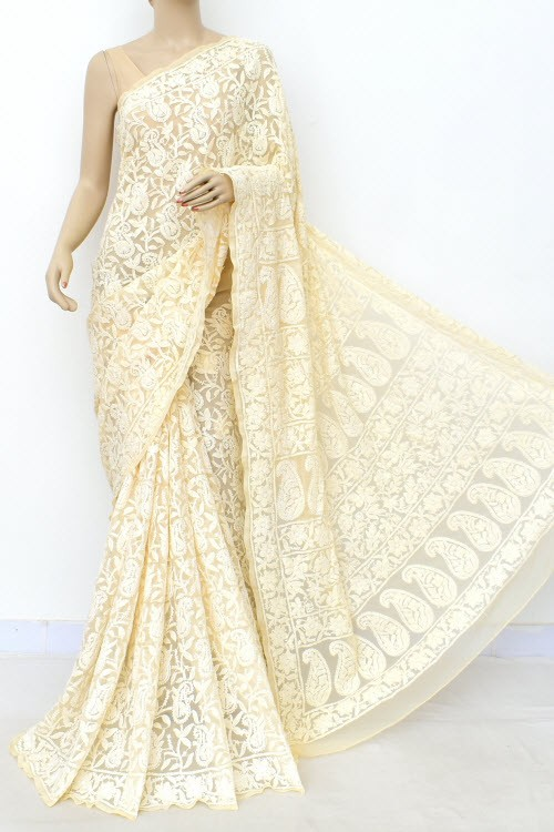 Beige Allover Hand Embroidered Lucknowi Chikankari Saree (With Blouse - Georgette) 14986