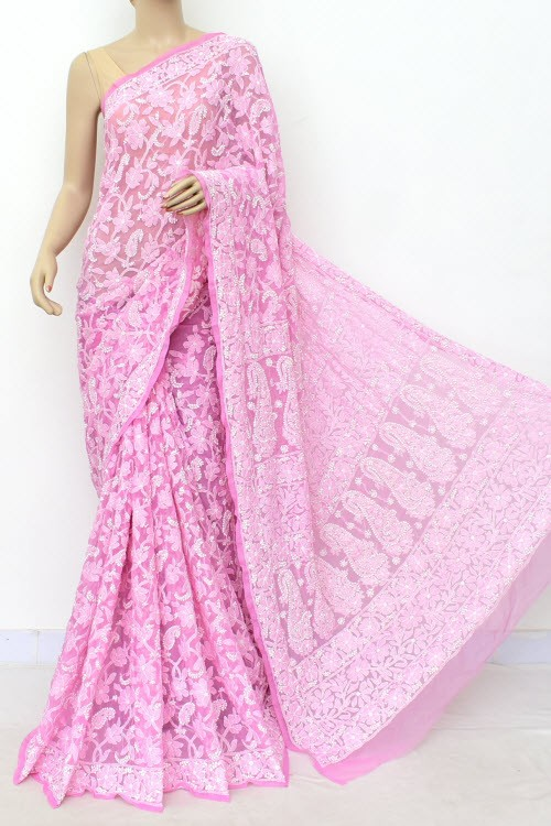 Onion Allover Hand Embroidered Lucknowi Chikankari Saree (With Blouse - Georgette) 14987