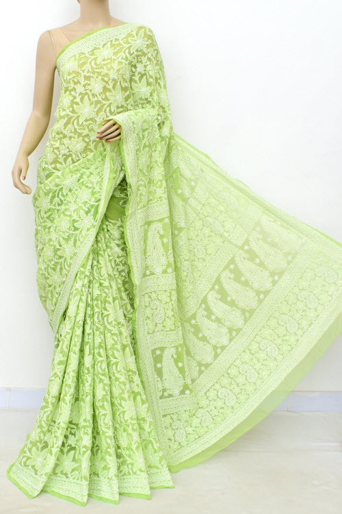 Pista Green Allover Hand Embroidered Lucknowi Chikankari Saree (With Blouse - Georgette) 14989