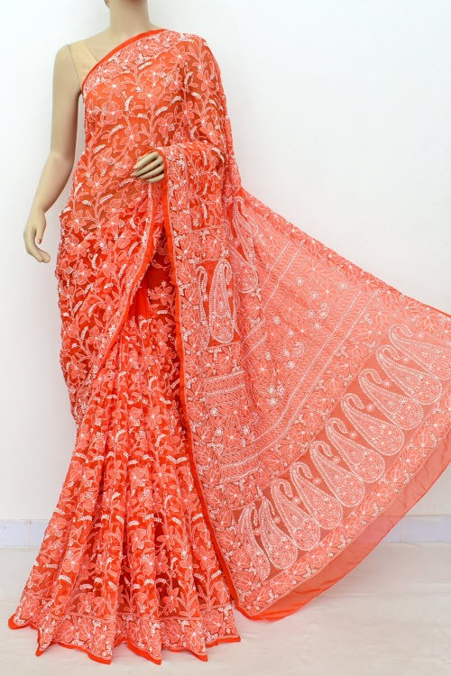 Orange Allover Hand Embroidered Lucknowi Chikankari Saree (With Blouse - Georgette) 14990