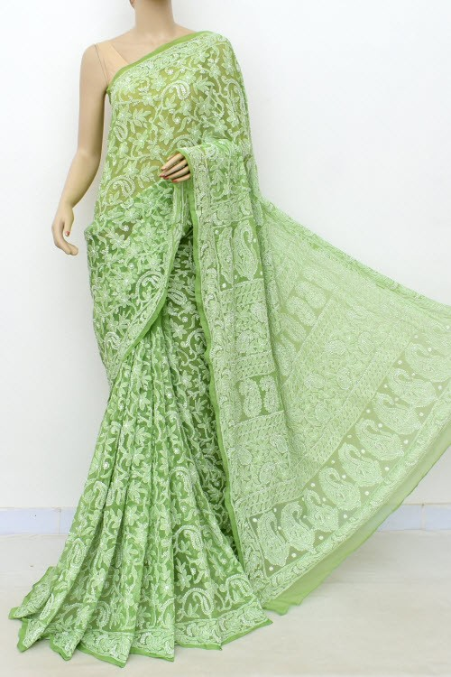 Green Allover Hand Embroidered Lucknowi Chikankari Saree (With Blouse - Georgette) 14998