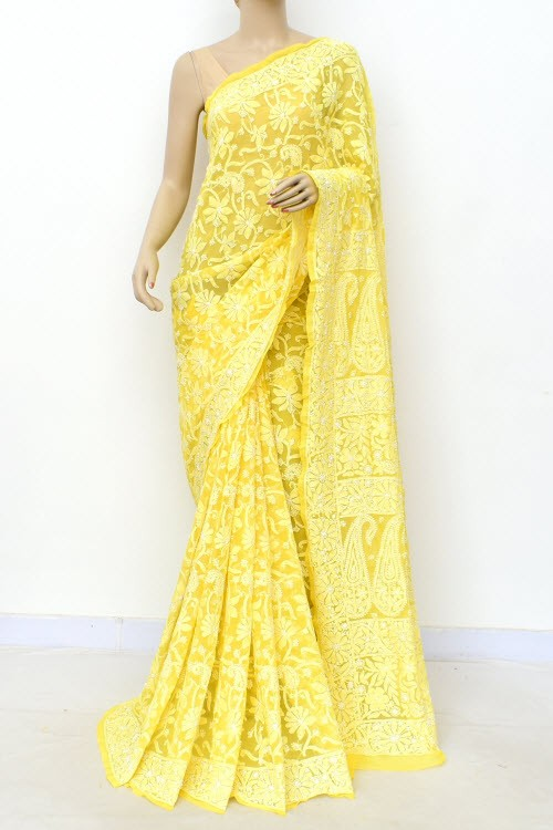 Lemon Yellow  Allover Hand Embroidered Lucknowi Chikankari Saree (With Blouse - Georgette) 14999