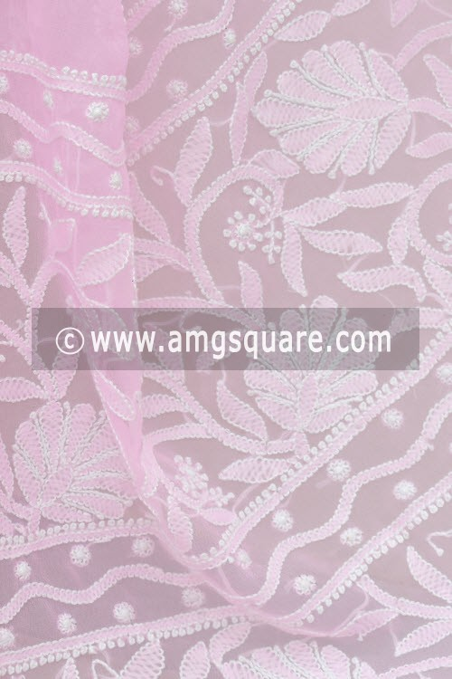 Pink Hand Embroidered Lucknowi Chikankari Saree (With Blouse - Georgette) 15002