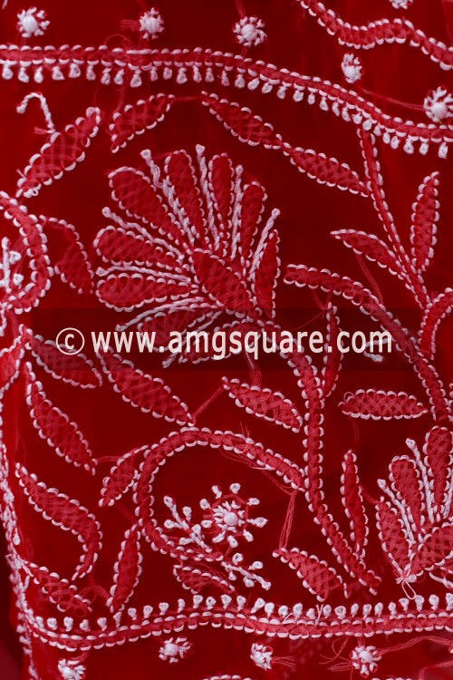 Red Hand Embroidered Lucknowi Chikankari Saree (With Blouse - Georgette) 15004