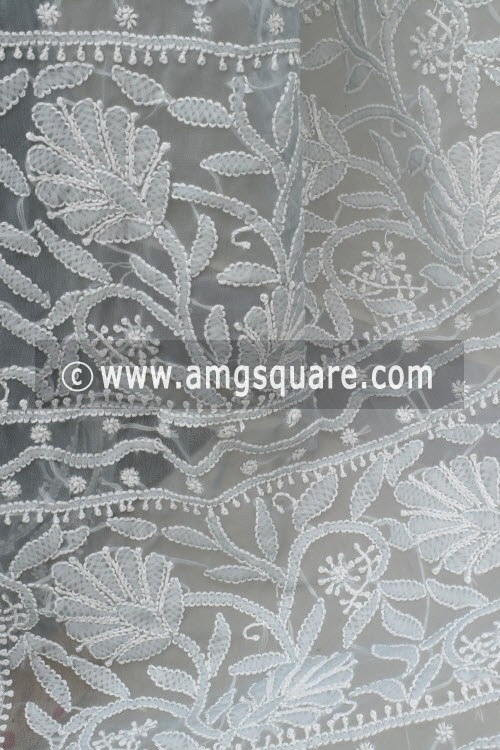 Grey Hand Embroidered Lucknowi Chikankari Saree (With Blouse - Georgette) 15005