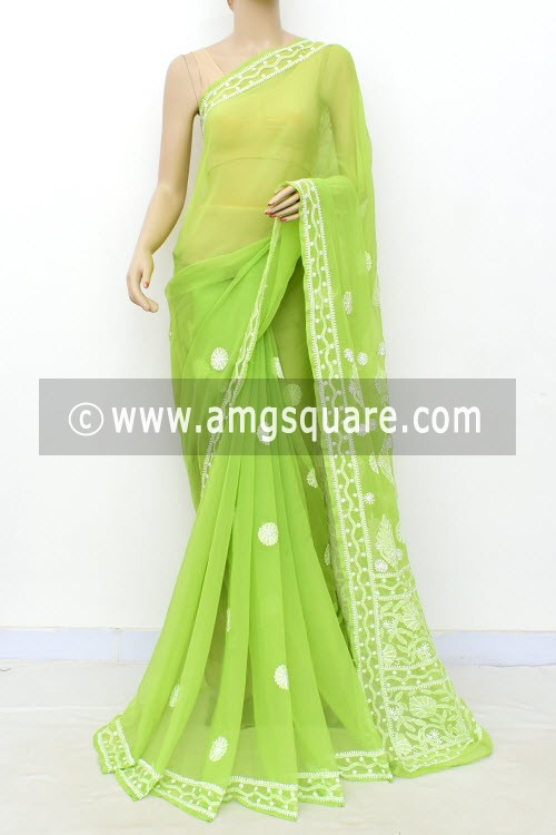 Pista Green Hand Embroidered Lucknowi Chikankari Saree (With Blouse - Georgette) 15006