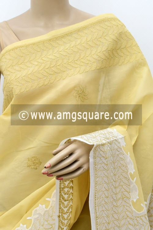 Beige White Designer Hand Embroidered Lucknowi Chikankari Saree (With Blouse - Cotton) Daraj Work Border & Pallu 15019
