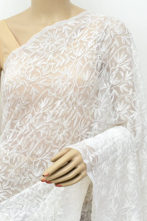 White Hand Embroidered Allover Tepchi Work Lucknowi Chikankari Saree (With Blouse - Faux Georgette) 15023