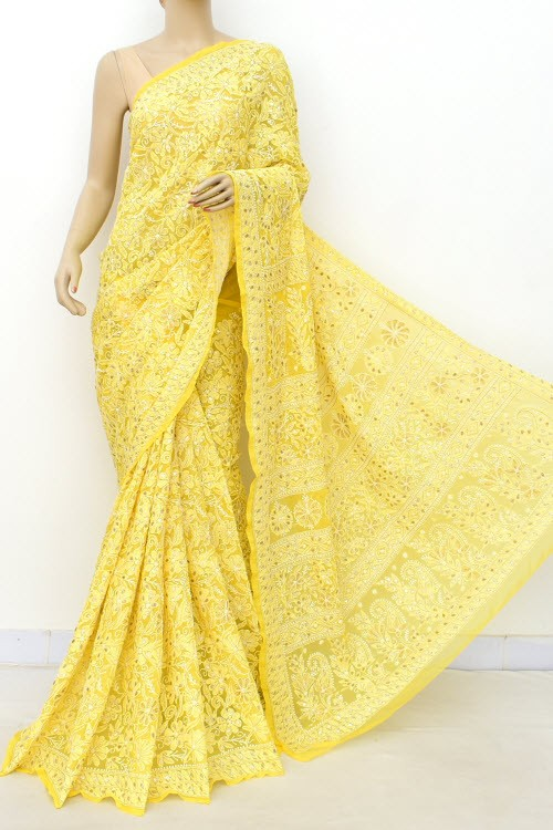 Deep Yellow Allover Gota Patti + AddOn Work Hand Embroidered Lucknowi Chikankari Saree (With Blouse - Faux Georgette) 15024 (A Bridal Collection)
