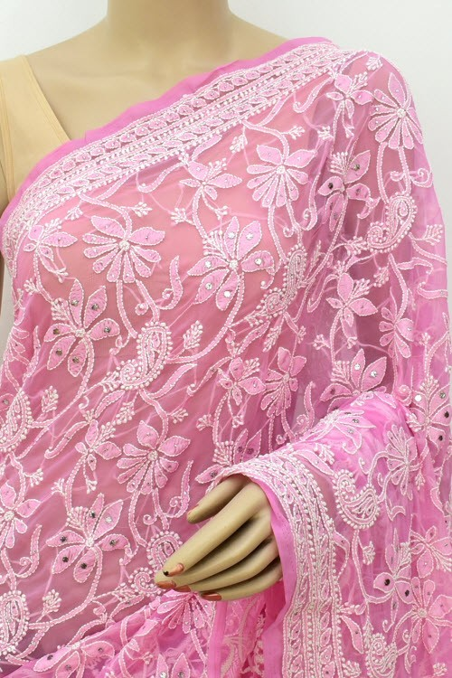 Onion Allover Hand Embroidered with Fine Mukaish Work Lucknowi Chikankari Saree (With Blouse - Faux Georgette) 15025 (A Bridal Collection)