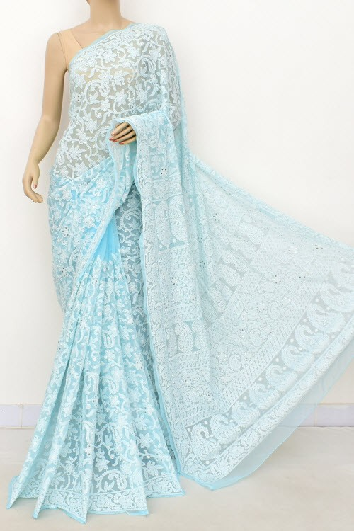 Sky Blue Allover Hand Embroidered with Fine Mukaish Work Lucknowi Chikankari Saree (With Blouse - Faux Georgette) 15027 (A Bridal Collection)