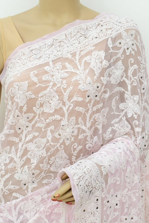 Baby Pink Allover Hand Embroidered with Fine Mukaish Work Lucknowi Chikankari Saree (With Blouse - Faux Georgette) 15028 (A Bridal Collection)